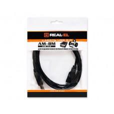 Кабель USB-Type-B 2.0 AM-BM REAL-EL 3m Black