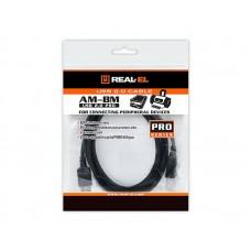 Кабель USB-Type-B 2.0 AM/BM REAL-EL Pro 3m Black (EL123500027)