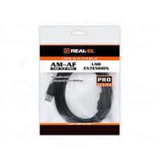 Удлинитель USB-USB 2.0 AM/AF REAL-EL Pro 3m Black (EL123500029)