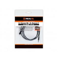 Удлинитель Audio Aux Pro 3.5мм-3.5мм REAL-EL 1m Black (EL123500041)