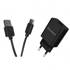 Зарядное устройство сетевое Florence 1USB 2A Black (FL-1020-KT) + cable USB-Type-C
