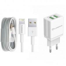 Зарядное устройство сетевое Florence 2USB 2A White (FL-1021-WL) + cable USB-Lightning