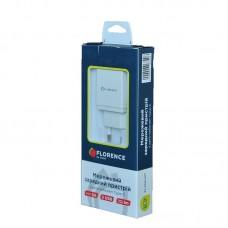 Зарядное устройство сетевое Florence 2USB 2A White (FL-1021-WT) + cable USB-Type-C