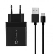 Зарядное устройство сетевое Florence 1USB 3A QC3.0 Black (FL-1050-KM) + cable MicroUSB