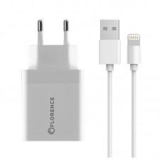 Зарядное устройство сетевое Florence 1USB 3A QC3.0 White (FL-1050-WL) + cable USB-Lightning