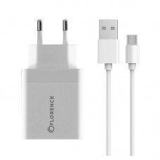 Зарядное устройство сетевое Florence 1USB 3A QC3.0 White (FL-1050-WM) + cable MicroUSB