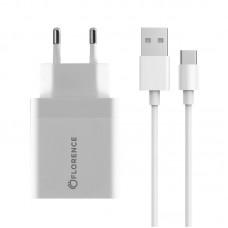 Зарядное устройство сетевое Florence 1USB 3A QC3.0 White (FL-1050-WT) + cable USB-Type-C