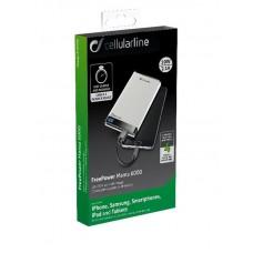 УМБ Cellularline FreePower Manta 6000mAh 2USB 2.1A White (FREEPMANTA6000W)