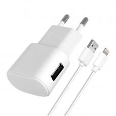 Зарядное устройство сетевое Florence 1USB 1A White FW-1U010W-L + cable USB-Lightning