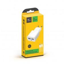 СЗУ Florence 2USB 2A White FW-2U020W-L + cable USB-Lightning