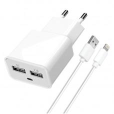 Зарядное устройство сетевое Florence 2USB 2A White FW-2U020W-L + cable Lightning