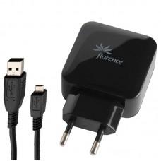 СЗУ Florence 2USB 3.1A Black (FW-2U030B-M) + cable USB-MicroUSB