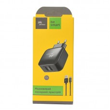 СЗУ Florence 2USB 3A Black (FW-2U030B-T) + cable USB-Type-C