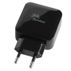 СЗУ Florence 2USB 3.1A Black (FW-2U031B-L) + cable USB-Lightning