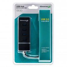 USB HUB Grand-X Travel USB-USB 4USB3.0 Black (GH-412)