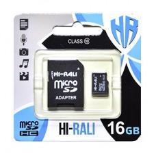Карта памяти MicroSDHC 16GB UHS-I Class 10 Hi-Rali + Adapter SD (HI-16GBSD10U1-01)