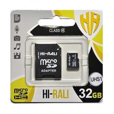 Карта памяти MicroSDHC 32GB UHS-I Class 10 Hi-Rali + Adapter SD (HI-32GBSD10U1-01)