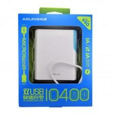 УМБ Arun Y40 10400mAh 2USB 2.1A White/Blue (IR0760)