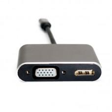 Адаптер Type-C-HDMI-VGA Extradigital 0.15m Silver (KBV1743)