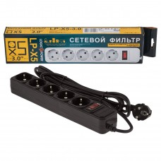 Сетевой фильтр LogicPower 5 розеток 3m 10A LP-X5 Black (LP1946)