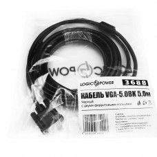 Кабель VGA-VGA LogicPower 5m Black (LP3688)