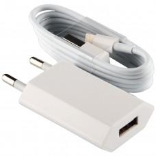 Зарядное устройство сетевое LogicPower 1USB 1A АС-005 White (LP5191) + cable USB-Lightning
