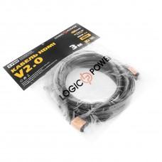 Кабель HDMI-HDMI v2.0 LogicPower 3m Black/Gold (LP5780)