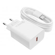 Зарядное устройство сетевое LogicPower QC 1USB 3A АС-009 White (LP9466) + cable 1m USB-Type-C
