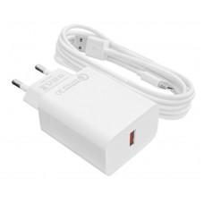 СЗУ LogicPower QC 1USB 3A АС-010 White (LP9467) + cable 2m USB-Type-C