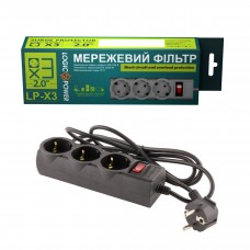 Сетевой фильтр LogicPower 3 розетки 2m 10A Black LP-X3-2 (LP9581)