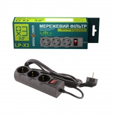 Сетевой фильтр LogicPower 3 розетки 3m 10A Black LP-X3-3 (LP9582)