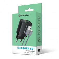 Зарядное устройство сетевое MakeFuture 2USB 2.4A Black (MCWC-L22BK) + cable USB-Lightning