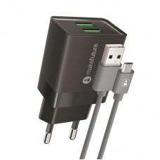 Зарядное устройство сетевое MakeFuture 2USB 2.4A Black (MCWC-M22BK) + cable MicroUSB