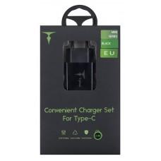 СЗУ T-phox Mini 1USB 2.4A Black + cable USB-Type-C