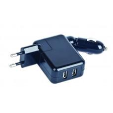 Зарядное устройство 2 в 1 2USB 2A Gembird черный