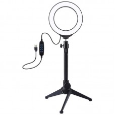 """Лампа кольцевая LED USB Puluz PKT3031 4.7"""" + настольный штатив (PKT3031) Black"""