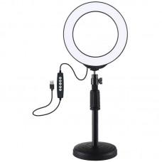 "Лампа кольцевая LED USB RGBW Puluz PKT3047B 6.2"" + настольное крепление (PKT3047B) Black"