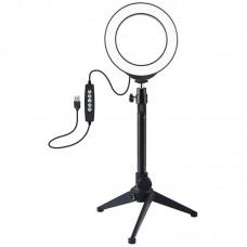 """Лампа кольцевая LED USB RGBW Puluz PKT3049B 4.7"""" + настольный штатив (PKT3049B) Black"""