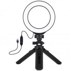 """Лампа кольцевая LED USB Puluz PKT3058B 4.7"""" + штатив 12 см (PKT3058B) Black"""