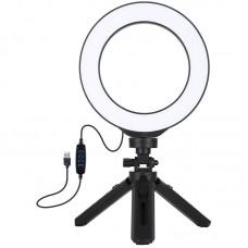 """Лампа кольцевая LED USB Puluz PKT3059B 6.2"""" + настольный штатив (PKT3059B) Black"""