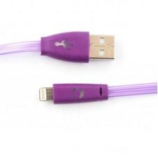 Кабель Dengos USB-Lightning LED 1m Purple (PLS-L-LED-PLSK-PURPLE)