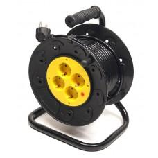 Удлинитель на катушке PowerPlant JY-2002/15 4 розетки 15m 10A Black/Yellow