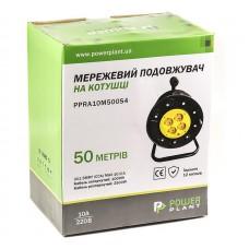 Удлинитель на катушке PowerPlant JY-2002/50 (PPRA10M500S4) 4 розетки 50m Black/Yellow