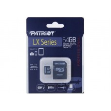 Карта памяти MicroSDXC 64GB UHS-I Class 10 Patriot LX + Adapter SD (PSF64GMCSDXC10)