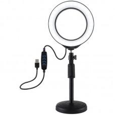 """Лампа кольцевая LED USB Puluz PU392 6.2"""" + настольное крепление 18-28 см (PU392) Black"""