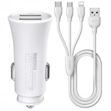 Зарядное устройство автомобильное Remax 2USB 2.4A White (RCC-217) + cable Lightning-MicroUSB-Type-C