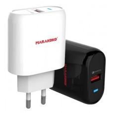 Адаптер сетевой Marakoko MA15 1USB 3A QC3.0 White (RL050306)