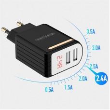 Адаптер сетевой Jellico WJ-C80 LED 2USB 2.4A Black (RL054498)