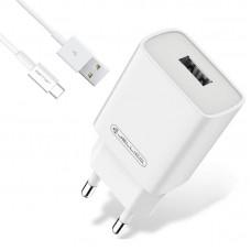 Зарядное устройство сетевое Jellico AQC33/AQC35 1USB 3A QC3.0 White (RL055231) + cable USB-Type-C