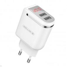 Зарядное устройство сетевое Jellico WJ-C80 LED 2USB 2.4A White (RL055232) + cable USB-Type-C